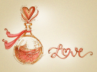 Love Potion drawing love lettering illustration