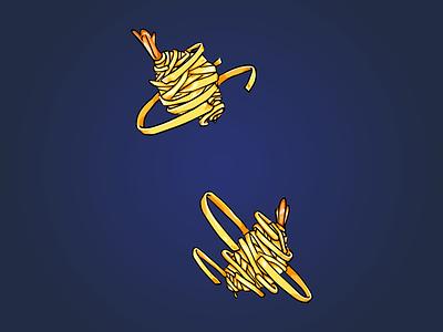 Potato Wrapped Shrimps food illustration