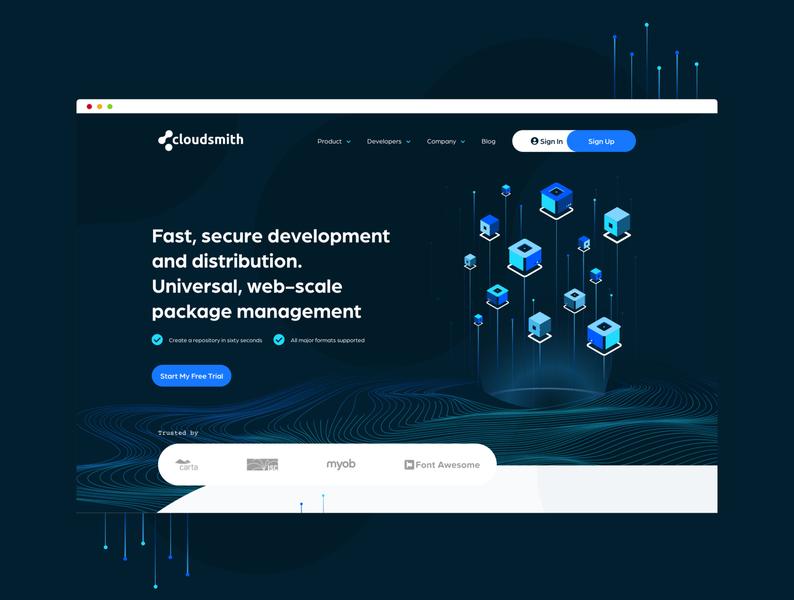 Cloudsmith - Desktop developer dev typography branding illustration webdesign software web design ux packages website web design ui