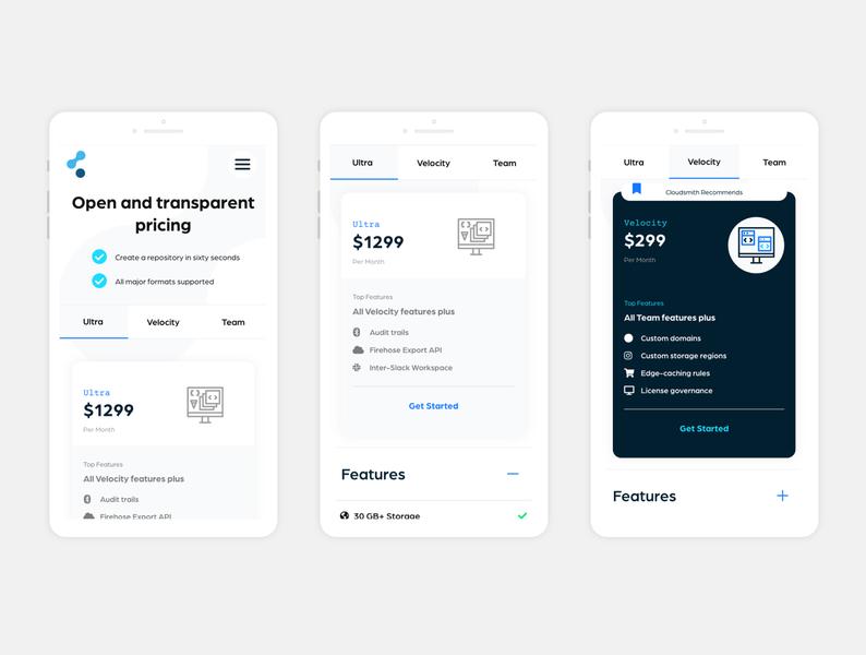 Cloudsmith - Mobile mobile dev tech start price uxui mobile ui plans packages illustration payments concept design ui