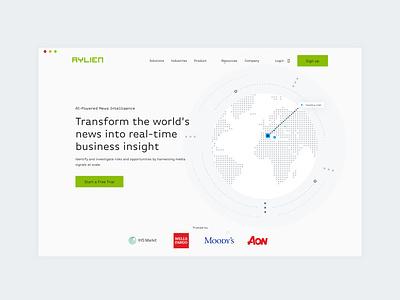 AYLIEN - Desktop ux graphics news artificialintelligence branding vector website product ai illustration design ui