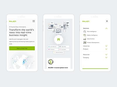 AYLIEN - Mobile minimalist media news ai artificialintelligence minimal vector flat web app icon typography ux branding design ui