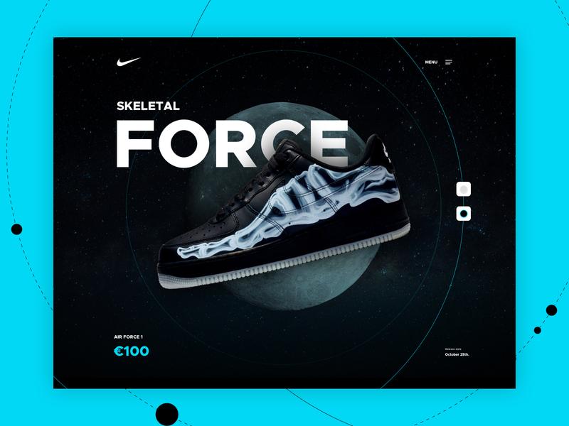 Nike Airforce 1 - Skeletal nike sneakers sneaker concept web design ui design mocktober2019 mocktober