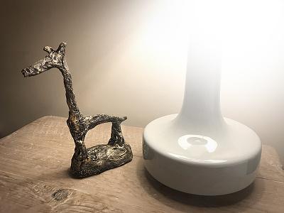 Giraffe sculpture for my mummy. gold papier mâché animal creative texture paint model sculpture