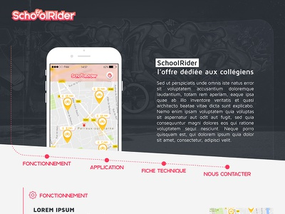 Schoolrider homepage school project application web design