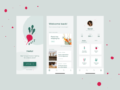 BEET - mobile app 🌱 eco-friendly zero waste zerowaste ecology eco web design ux application typography mobile illustration branding ui app product design