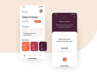 Mindfulness App product design application journalism reflect emotions psychology self-care netguru design app ux ui