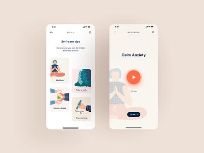 Mindfulness App - Meditate meditation meditate psychology emotions self-care application app web design typography product design print mobile illustration branding animation