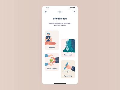 Mindfulness App emotions meditate web design typography print mobile branding ui meditation illustration design self-care product design app application animation