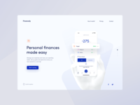 Budget App - Landing page minimalism animation fintech finance web design ui typography print mobile branding illustration product design app