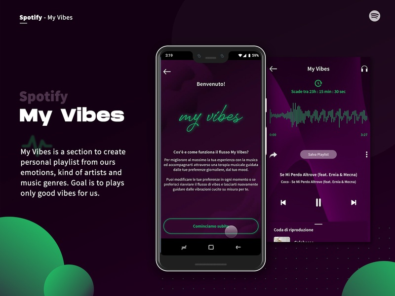 Spotify - My Vibes spotify concept ui project design academy