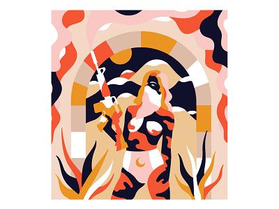 smoking girl design colors character art illustration