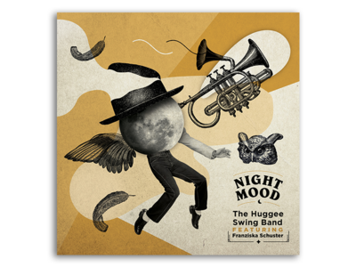 """Album Cover Design for """"The Huggee Swing Band"""" vintage modern owl moon music night old illustration collage album cover"""