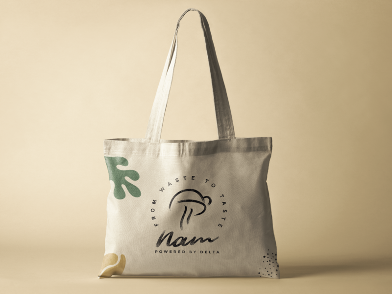 Nam: from coffee wast to mushroom double meaning logo branding design totebag