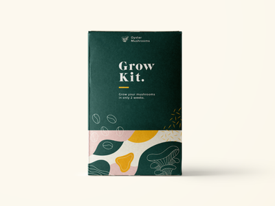 Grow kit for mushrooms out of coffee waste matisse illustration design packaging upcycle coffee bean coffee mushroom