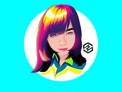 Cartoon portrait with colorful