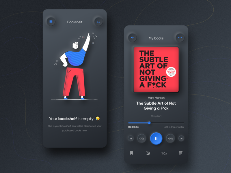 Audiobook App - Neumorphism style typography blue pink play player audio player bookshelf book style audiobook illustration neumorphism designer app colors ux ui design
