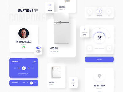 Smart Home App - Components white lights music musicplayer kitchen wifi temperature components purple design app application app design smarthome home designer app colors ux ui design