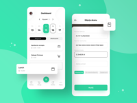 Tivano App - Dashboard lunch shopping note dashboard calendar help robot typography green money finance invoice managers office app sketch colors ux ui design