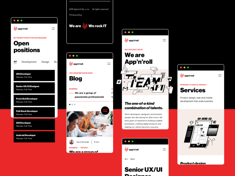 App'n'roll - RWD illustrations box button blogpost blog app service app rock services careers team white black  white red black typography colors ux ui design