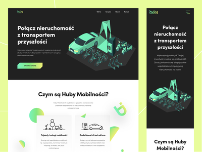 Huby Mobilności - Landing Page font clients button services future transports yellow green mobility desktop mobile scooter cartoon gradient transport colors ux ui design