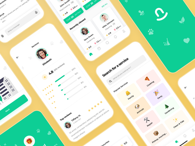 Elvin App - screens search results progress component bar location button checkbox onboarding profile reviews sign up log in icons emoji input dashboard home services illustration design