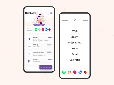 Mudita Launcher app design apple android illustration daily work schedules mode routine form button input mindfull app colors ux design ui