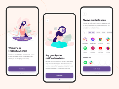 Mudita Launcher - Onboarding routine schedule sign up log in input typography button apps icons onboarding mindfull logo branding illustration app colors ux ui design