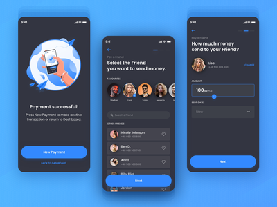 Banking App Pay A Friend succes confirm payment illustration designer dashboard app creditcard blue banking app banking concept app colors ux ui sketch design app