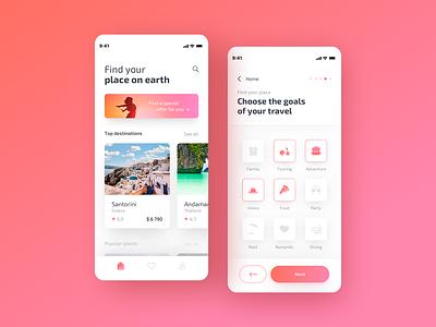 Travely - Search goals filters filter search traveling illustration dashboard app travel app travel designer concept app colors ux ui sketch design app