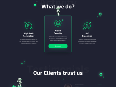 CyberSecurity Landing Page website website design startup robots graphic design testimonials company security hightech iot green cyber cybersecurity illustration colors ux ui sketch design