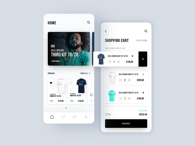 Real Madrid E-Commerce App Part 2 shopping cart shopping bag home marcelo spain españa madrid real madrid ecommerce shop ecommerce design ecommerce app ecommerce designer concept app app colors ui ux sketch design