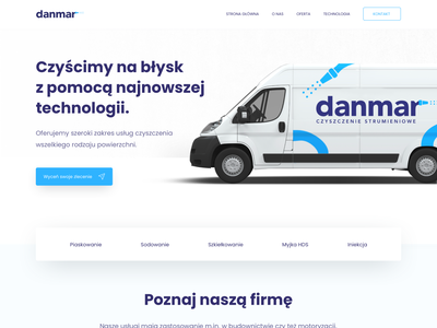 New danmar - Pressure Cleaning Company website design blue cleaning company white business card bus pressure cleaning cleandesign clean webdesign web icon typography branding colors ux ui sketch design