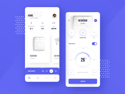 Smart Home App temperature ui design home application design typography smarthome app colors ux ui design