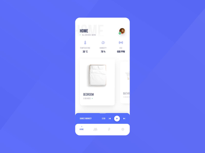 Smart Home App - Animation uidesign smart home app app design application colors typography temperature bedroom smarthome app sketch ux ui design animation