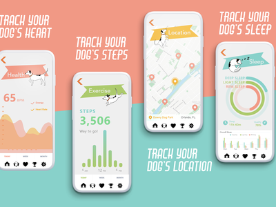 Dog E Data, UI Design fitbit playful friendly fun animal pet interactive website mobile app ux ui design adobe creativejam orlando artsatucf ucf data dog