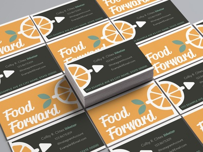 Food Forward - Business Cards icon typography adobe print cards business green brown orange colby clites design branding brand logo nonprofit forward food