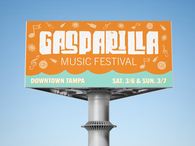 Gasparilla Music Festival - Billboard downtown wordmark logo pirate adobe photoshop mockup branding brand notes sign event billboard florida tampa colby clites festival music gasparilla