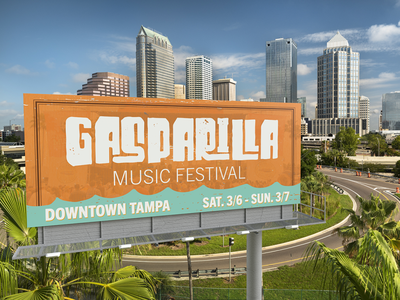 GMF Billboard grit cyan blue orange design branding brand render mockup 3d dimension illustrator adobe billboard logo clites colby tampa gasparilla gmf