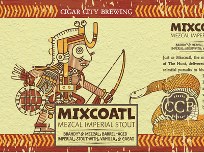 MIXCOATL - Barrel-Aged Beer Label florida tampa brewing cigar style art snake warm colors warm texture aztec mayan mixcoatl illustrator ai vector typography illustration branding design