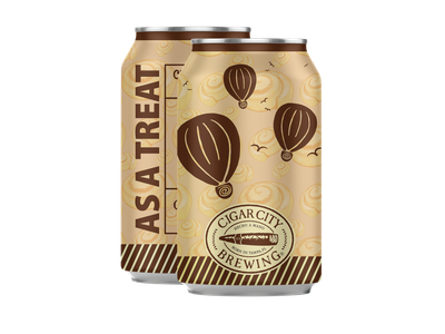 Beer Label - As A Treat clites colby brewing can beer art porter as a treat florida tampa cigar city brand hot air balloon cinnamon roll brown branding design art label craft beer