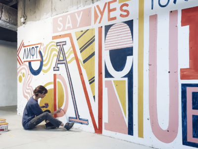 """Say yes to new adventures"" mural"