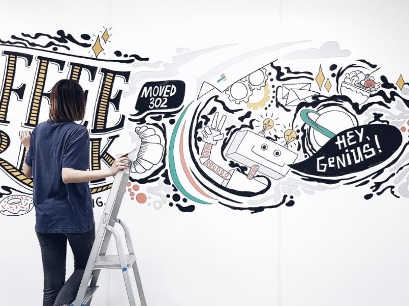 Mural in office paint robot illustration lettering mural