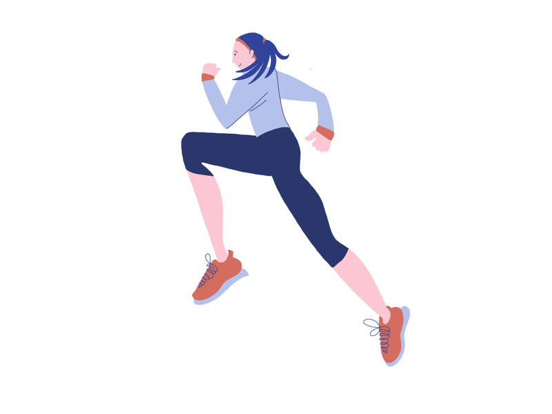 Runner Illustration girl girls sport sports runner flat flat illustration photoshop illustrator procreate illustration