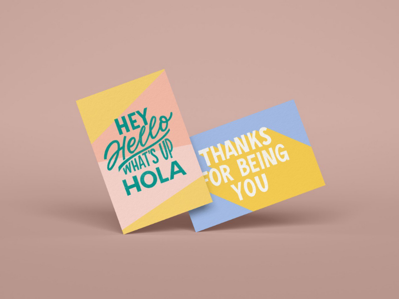 Greeting card set #2 post card hand lettering typography lettering abstract illustration adobe illustrator adobe photoshop procreate greeting card