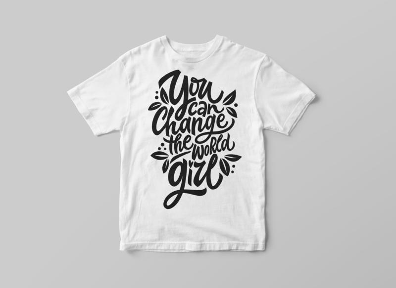 You can change the world, girl illustrator typography logo procreate illustration type calligraphy and lettering artist calligraphy hand lettering hand drawn lettering t-shirt mockup t-shirt illustration t-shirt design t-shirts