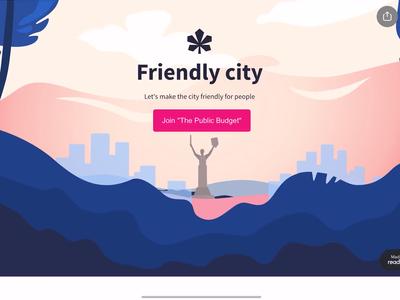 Friendly City readymag friendly kyiv city pink ui blue vector design illustration