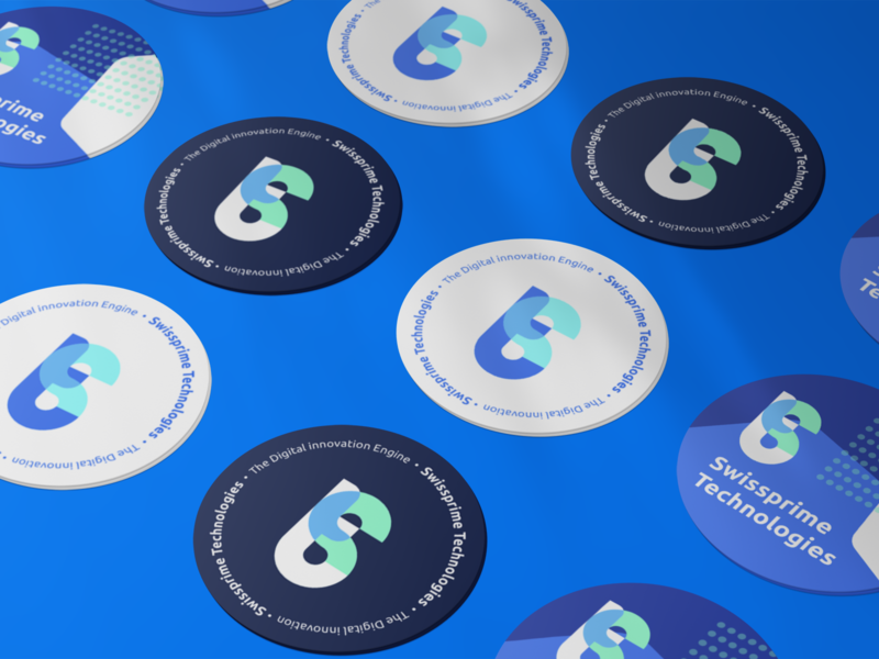 Swissprime stickers logotype switzerland swiss ai digital startup it technology blue vector icon stickers sticker branding logo design