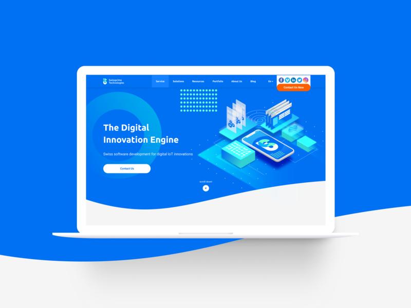 Swissprime Technologies Website website design website uidesign uxui innovation isometric switzerland swiss technology blue ux desktop web ui illustration vector