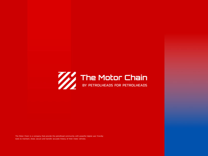 The Motor Chain logo ein-des-ein logotype blockchain digital chain motor petrolhead vehicle racing card logo identity branding vector design